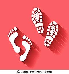 Foot vector human  footprint  bootprint isolated  with shadow