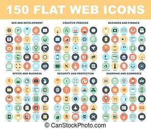 Web Icons - Vector set of 150 flat web icons on following...