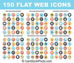 Web Icons - Vector set of 150 flat web icons with long...
