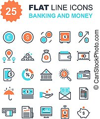 Banking and Money - Abstract vector collection of flat line...