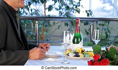 Romantic Dinner - Mature couple having dinner in a nice and...