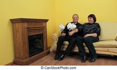 Household White Doves - Mature couple sitting on a couch and...