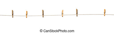 Old wooden clothespins on a rope isolated on white...