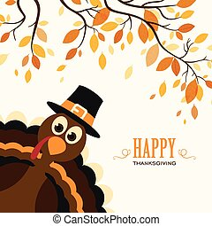 Thanksgiving Celebration - Vector Illustration of a Happy...