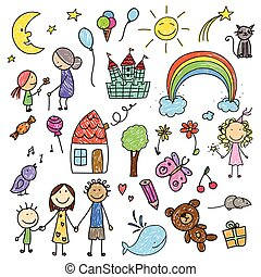 Children Drawing - Vector Illustration of a Collection of...