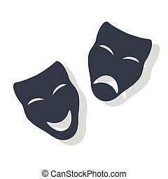 Theatrical Masks - Vector Illustration of Comedy and Tragedy...