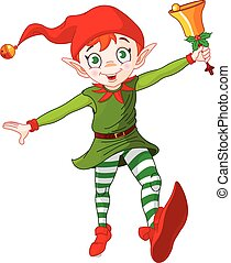 Christmas Elf Jump - Christmas elf jumping and ringing in a...