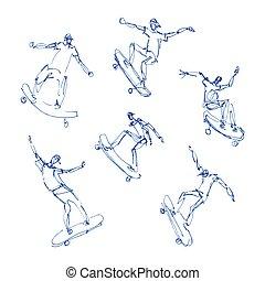 Skaters men set - Skaters men. Sketches blue pen set. Hand...