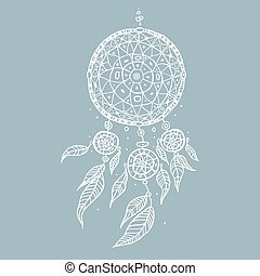 Dream Catcher. Decorative Vector illustration. - Dream...