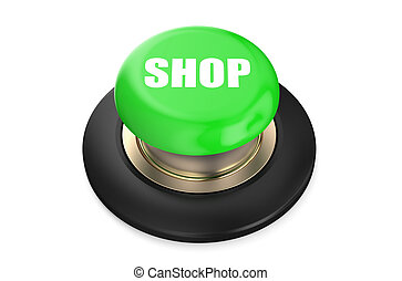 Shop Green button - Shop green button isolated on white...