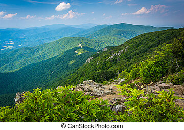 View of the Blue Ridge Mountains from Stony Man Mountain in Shenandoah National Park, Virginia.