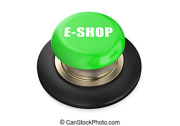 E-shop Green button - E-shop green button isolated on white...