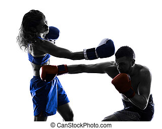woman boxer boxing man kickboxing isolated