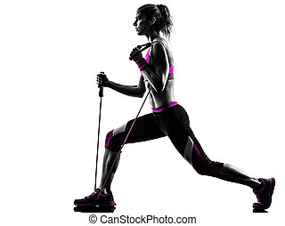 woman fitness resistance bands exercises