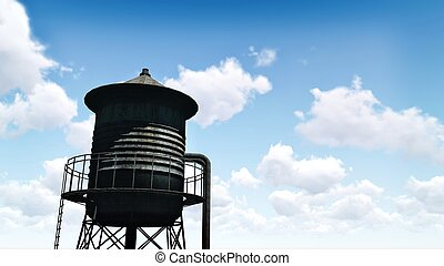 Old water tower against blue cloudy sky - Silhouette of the...
