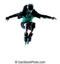 man Roller Skater inline Blading - one caucasian man Roller...