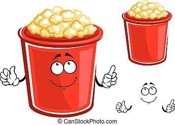 Red bucket of caramel popcorn - Cartoon bucket of popcorn...