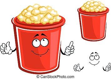 Red bucket of caramel popcorn - Cartoon bucket of popcorn...