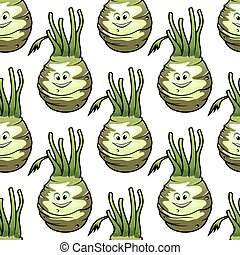 Ripe kohlrabi vegetables seamless pattern - Seamless pattern...