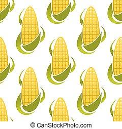 Sweet corn cobs seamless pattern - Golden corn seamless...
