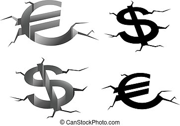 Dollar and euro cracked symbols
