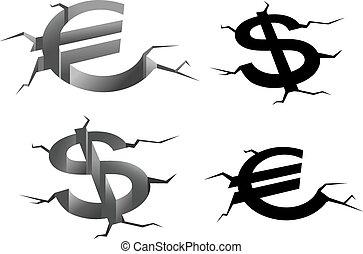 Dollar and euro cracked symbols