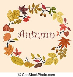 Autumn wreath with acorns and leaves - Autumn foliage wreath...