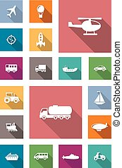 Transportation flat icons with shadows - Air, land and water...
