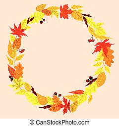 Autumn wreath with leaves, acorns and rowanberry - Autumn...