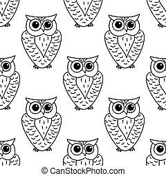 Horned owl seamless background pattern - Great horned...
