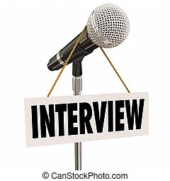 Interview Hanging Sign Microphone Word Questions Answers Speaker