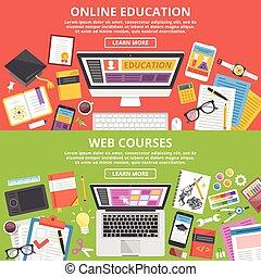 Online education, web courses set - Online education, web...