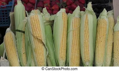 Corn is sold at the Bazaar - Ripe corn is sold at the Bazaar