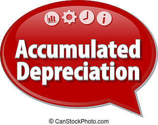 Accumulated depreciation Business term speech bubble...