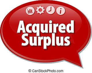 Acquired surplus Business term speech bubble illustration -...
