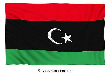 Flag of Libya , isolated on white