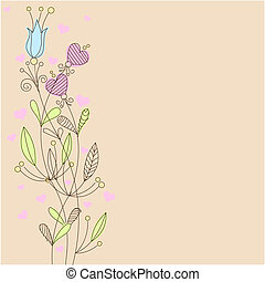 Greeting card with flowers and pink hearts