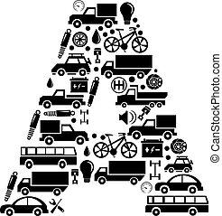 Abstract vector alphabet - A made from car icon - alphabet set
