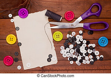 Set of buttons for the repair of clothing and tailoring...