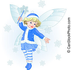 Winter baby fairy - Vector illustration of a Winter baby...
