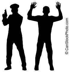 Criminal and Police officer. Black silhouettes on a white...