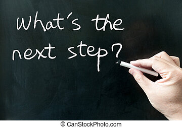 Whats the next step words written on the blackboard using...