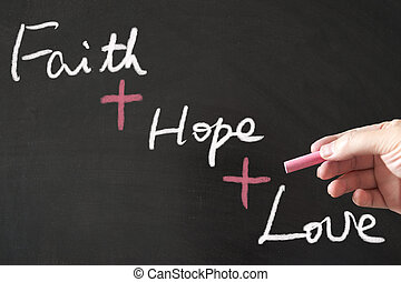 Faith hope love words written on the blackboard using chalk