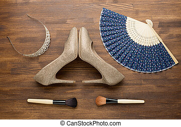 Overhead of essentials fashion woman objects - Still life of...