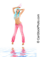 pink - girl in pink with blue hair over white