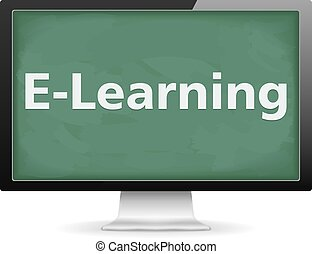 E-Learning concept, computer monitor with blackboard...