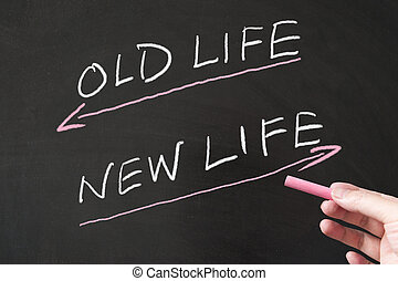 Old life vs new life words written on the blackboard using...