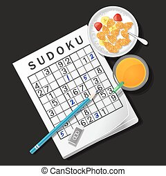 illustration of sudoku game with cereal bowl and orange juice