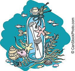 message in a bottle - Sketchy illustration of a message in a...
