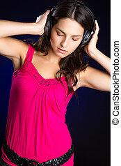 flicka, musik, Lyssnande